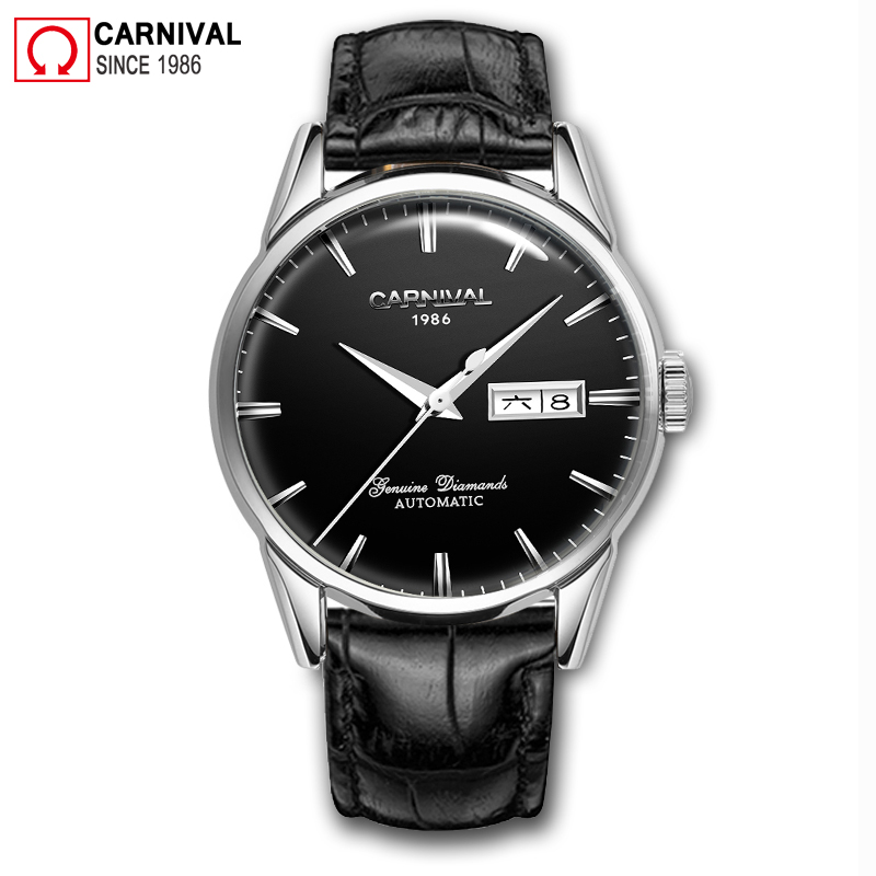 Carnival Mechanical Watches Fashion Automatic Watch Men 30M Waterproof Mens Clock Vintage Leather Strap Wristwatch kol saati Carnival Mechanical Watches Fashion Automatic Watch Men 30M Waterproof Mens Clock Vintage Leather Strap Wristwatch kol saati
