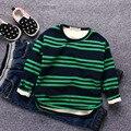 Nueva otoño invierno muchachas de los bebés camiseta de algodón outwear sudadera para niños a rayas de manga de terciopelo outwear tops ropa de bebé