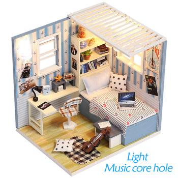 Nowa dziewczyna złożyć DIY 3D drewniane Mini domek dla lalek meble domowe edukacyjne urodziny zabawki prezentowe meble dla dzieci tanie i dobre opinie Drewna DA XIN 8 lat 1 24 DIY building doll house Budynki M008-12 Unisex away from the fire