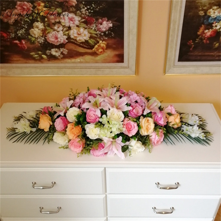 Customize Artificial ceremony conference table flower podium floral DIY wedding decor silk table flower conference table