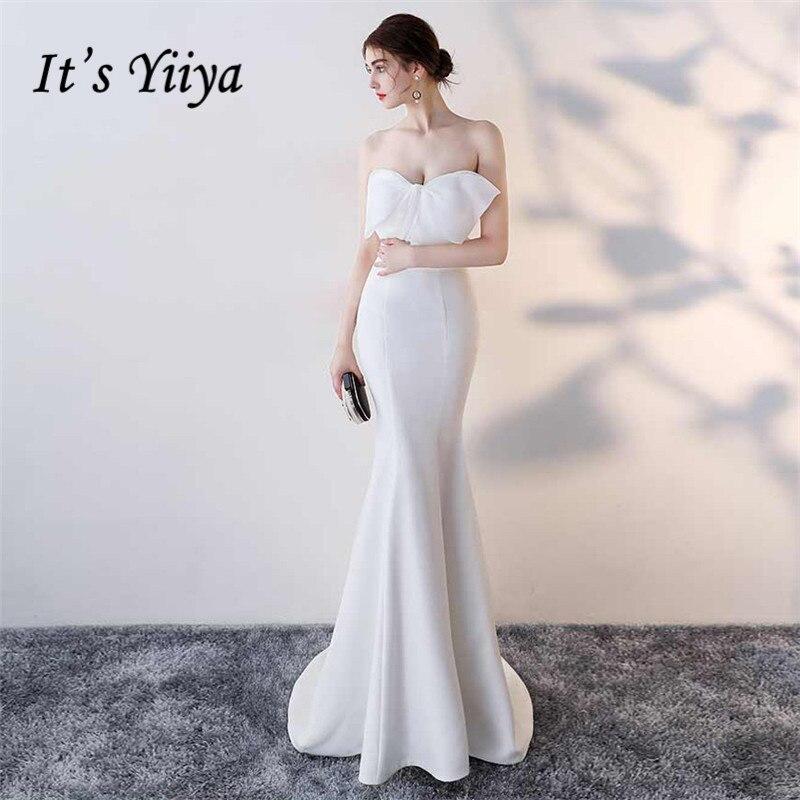 It's Yiiya Evening Dress Bow Strapless Elegant Mermaid Party Gowns Sleeveless Floor-length Zipper Back Trumpet Prom Dresses C140