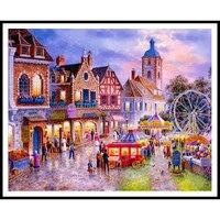 European Towns DIY Diamond Embroidery Landscape Cross Stitch Needlework 5d Diamond Painting Mosaic Full Square Rhinestone