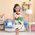 2016 New summer kids costume casual girls knee-length dress fashion bird animal pattern sleeveless dresses for girls