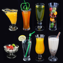PC Acrylic plastic Transparent Ice Cream Cup Sand Juice Milk Tea Drink Cup Crystal Imitation Glass Dessert Salad Milk shake Cup