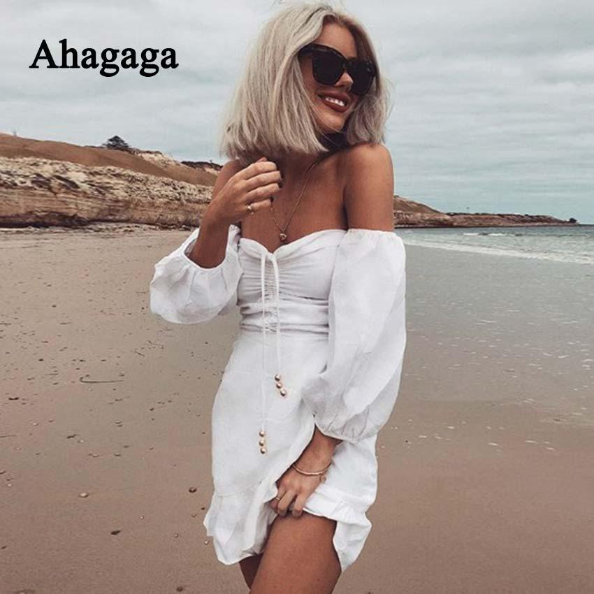 Ahagaga 2018 Summer Dress Women Fashion Solid White Slash Neck Bow Long Sleeve Sexy A-line Dress Women Dresses Vestidos Robes