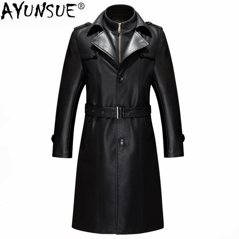 AYUNSUE Mens Genuine Leather Jacket Windbreaker Leather Trench Coat Winter Long Coat Plus Size 5XL Autumn Velvet Jackets LWL1078