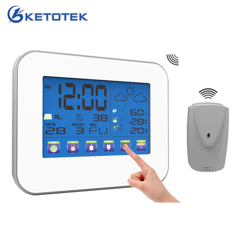 Touch Screen Wireless Weather Station Indoor Outdoor Temperature Humidity Meter Thermometer Hygrometer with Alarm Clock цена
