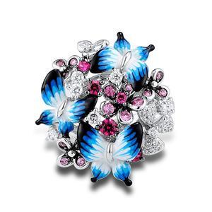 Image 2 - SANTUZZA bague en argent pour femmes 925 en argent Sterling glamour papillons brillant cubique zircon anneau bijoux de mode émail