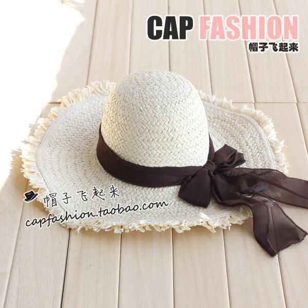 Moben anti-uv fashion large along the cap sunbonnet strawhat sun hat large brim hat