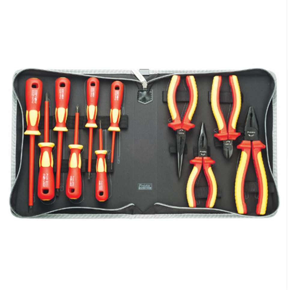 2017 High Quality Authentic Taiwan VDE1000V PK-2802 high voltage insulation tool set of 11 pieces of electrical tools