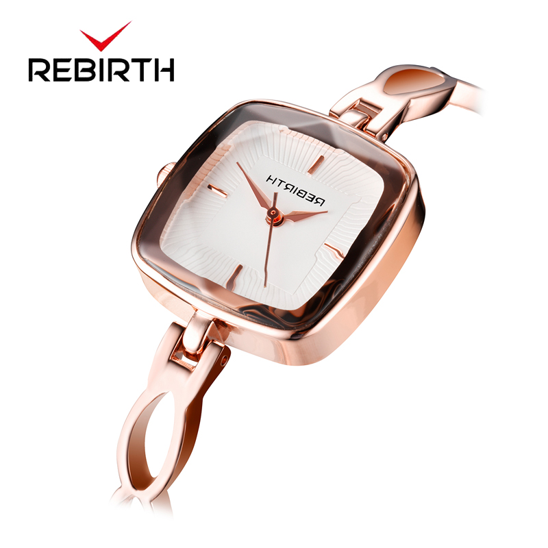 REBIRTH Watch Women Rose Gold Steel Strap Women Watches Casual Ladies Watch Top Brand Luxury Bracelet Quartz Clock reloj muje shengke top brand fashion ladies watches white leather marble dial female quartz watch women thin casual strap watch reloj muje