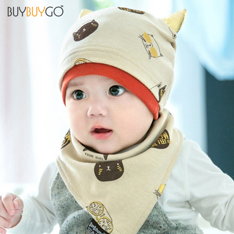 Baby Boys Girls Sleep Hat + Saliva Towel Triangle Head Scarf Set Newborn Infant  Hats Bibs Sets Gorras Sale Fitted Photography Tags  a7bb83cce9f0