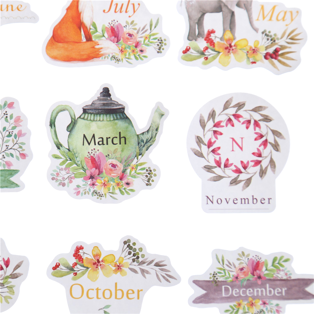 1set Flowers DIY Decoration Scrapbooking Stickers Toys Kids Gifts Weeks Months Words DIY Craft Diary Party