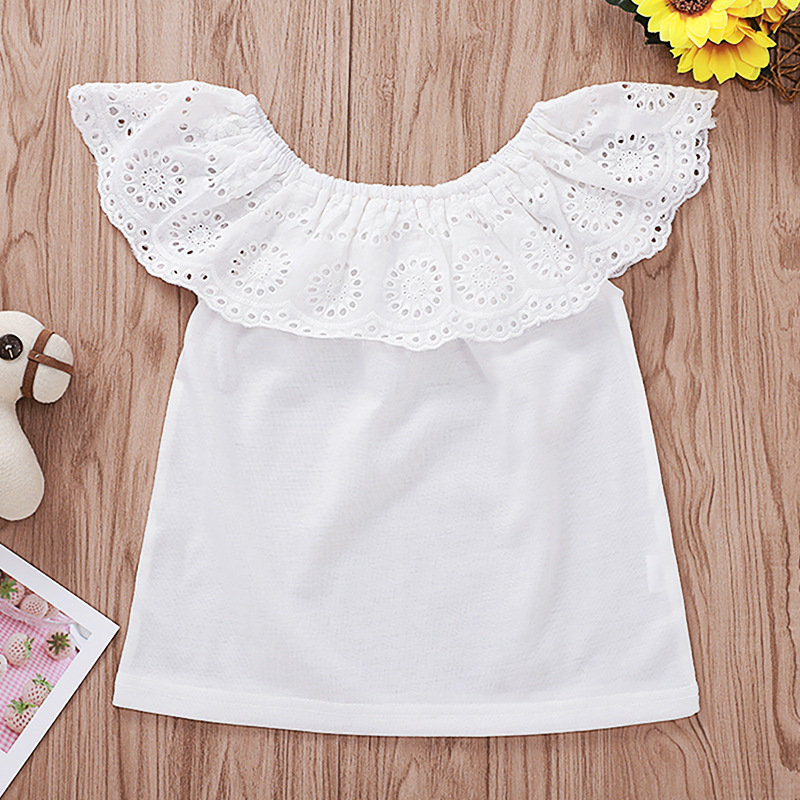Girl Tops Flutter-Sleeve Kids t-Shirts Toddler Fashion Summer Lace 1-To-6-Years