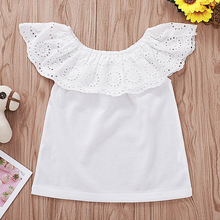 2019 Fashion Lace White Top Flutter Sleeve Toddler Girl Tops Kids T Shirts Baby Girl Summer Clothes 1 To 6 Years geo lace yoke flutter sleeve top