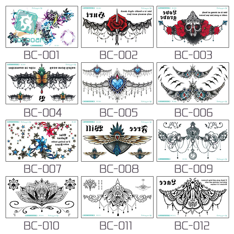 674d40a321df7 BC 5 Sheets Trendy Women Chest Back Temporary Tattoo Large Flower Shoulder  Arm Sternum Tattoos Sexy Henna Body Paint. -in Temporary Tattoos from  Beauty ...