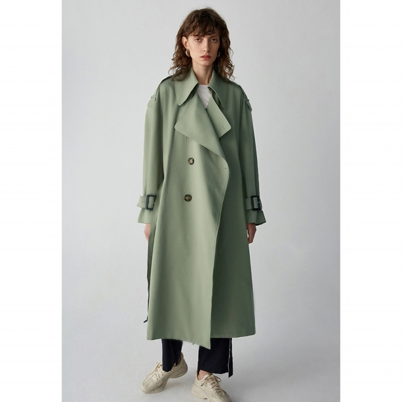 IRINAW569 New Arrival 2018 green oversize long belted notched collar women   trench   coat