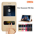 P8 lite case ver janela pu couro tampa flip case para huawei p8 lite telefone luva protetora para huawei p 8 lite case