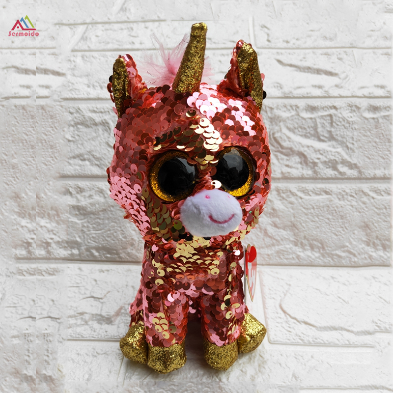 Ty Beanie Boos 6'' 15cm Sequin Unicorn Chihuahua Cat Fox Owl Dinosaur Plush Soft Big-eyed Stuffed Animal Collection Doll Toy