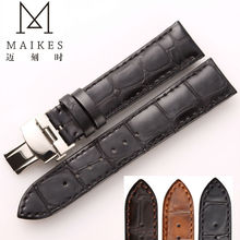 MAIKES Black Genuine Leather Watchband 22mm For Women&Men Calf Casual watch accessory leather strap butterfly buckle