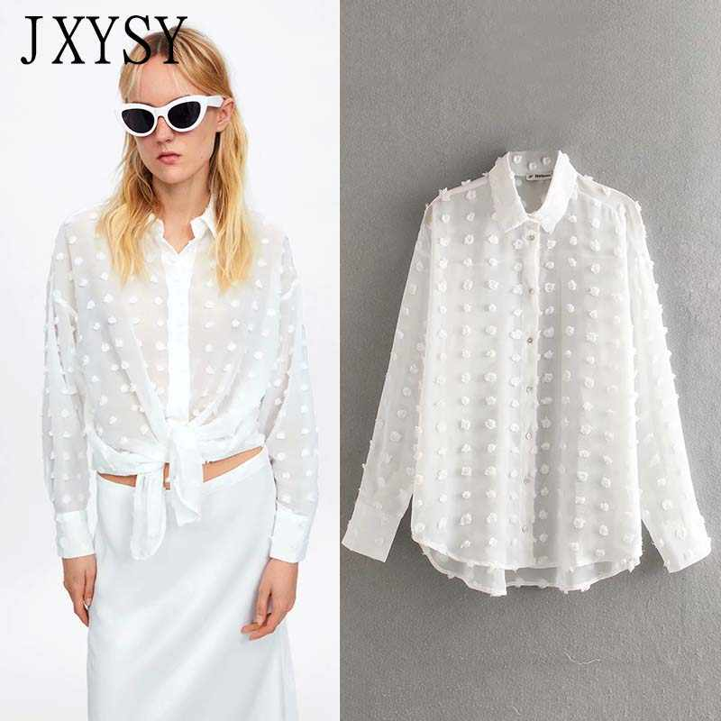 JXYSY 2019 blusas women mujer de moda england style Wave point transparency shirt kimono blouse womens tops and blouses