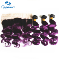 Sapphire Malaysian Body Wave Remy 3 Human Hair Bundles With Lace Frontal Ombre Color 1B Purple