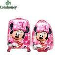 Minnie Mouse niños Trolley escuela para niñas niños Spiderman niños blancos como la nieve de mochila escolar Wheels niños maleta de viaje