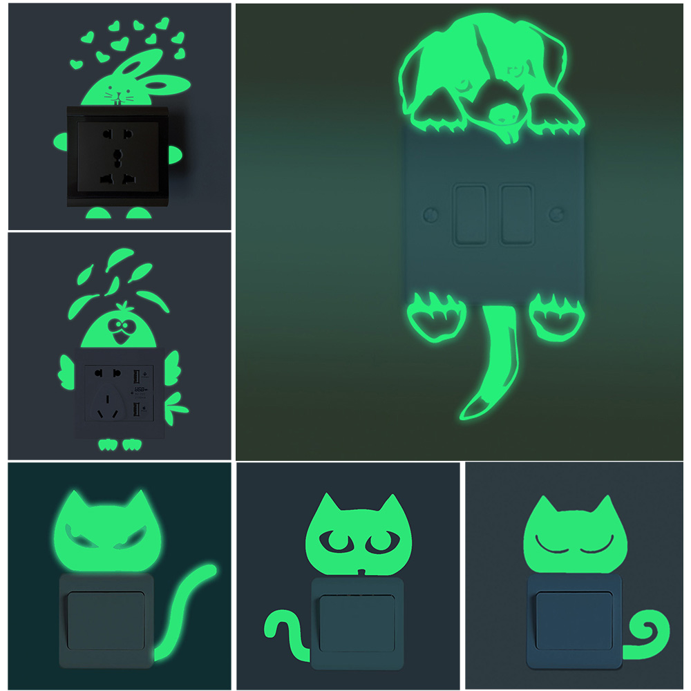 Cartoon Luminous Switch Sticker Glow In The Dark Cat Sticker Fluorescent Fairy Moon Stars Sticker Kid Room Decoration Home Decor