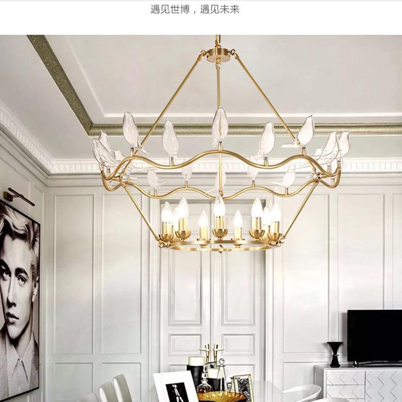Glass bird single chandelier lighting modern gold chandelier lights ceiling lamp for living room Hotel lobby lighting