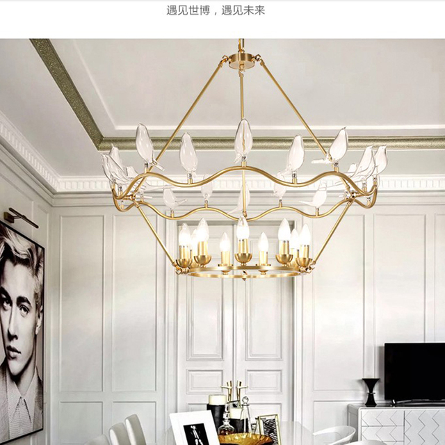 Glass bird single chandelier lighting modern gold chandelier glass bird single chandelier lighting modern gold chandelier lights ceiling lamp for living room hotel lobby mozeypictures Image collections