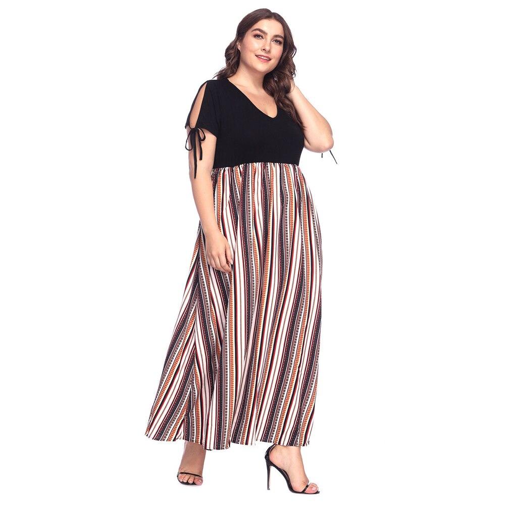 6f104a646 YANDW Casual Vestidos Mujer rayas Boho largo vestido Oficina señora Beach  Summer Maxi Holiday algodón suelto gasa más el tamaño