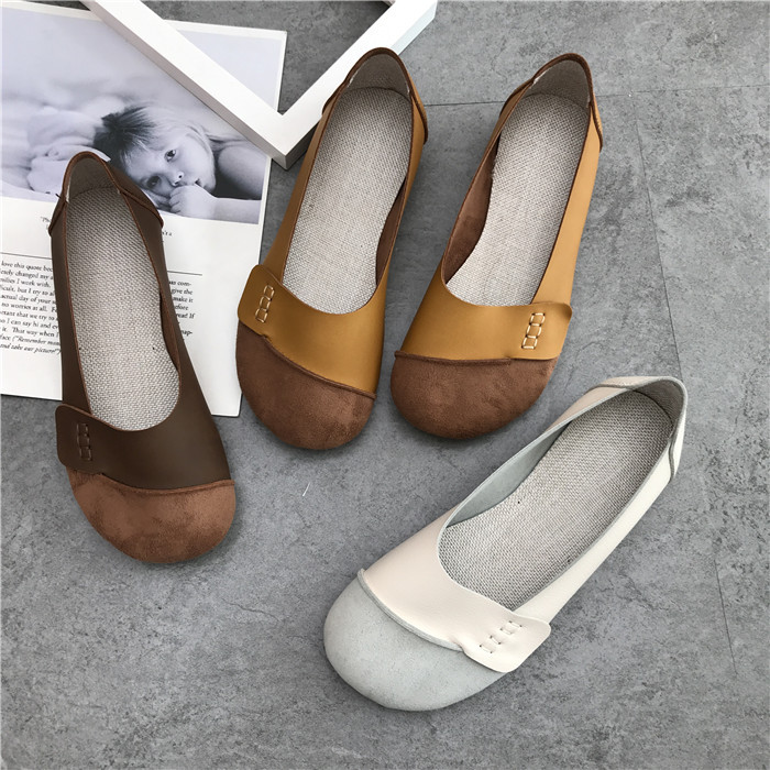 2018 new fashion casual soft soled shoes retro solid color flat shoes