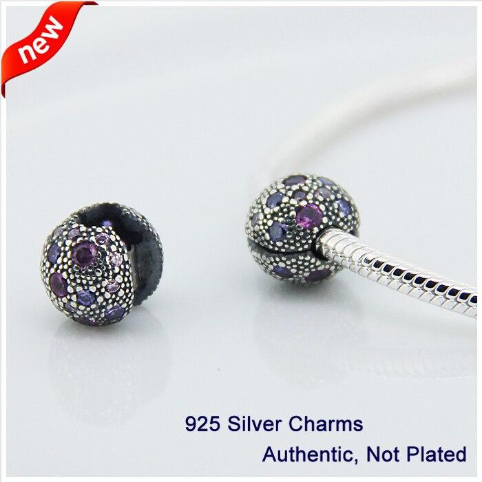 00d6ffaf5c Apto para pandora pulseira 100% grânulos de prata esterlina 925 roxo fl029a  cósmicos estrelas clipe charme diy fazendo a jóia frete grátis