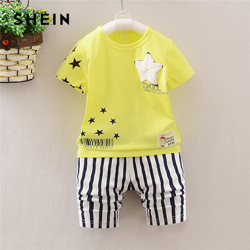 SHEIN Kiddie Toddler Boys Geometric Print Tee With Striped Shorts Suit Set Kids 2019 Summer Short Sleeve Casual Clothes Sets plus slogan print tee