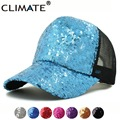 CLIMATE Sequins Paillette Bling Shinning Mesh Baseball Cap Striking Pretty Adjustable Women Girls Hats For Party Club Gathering