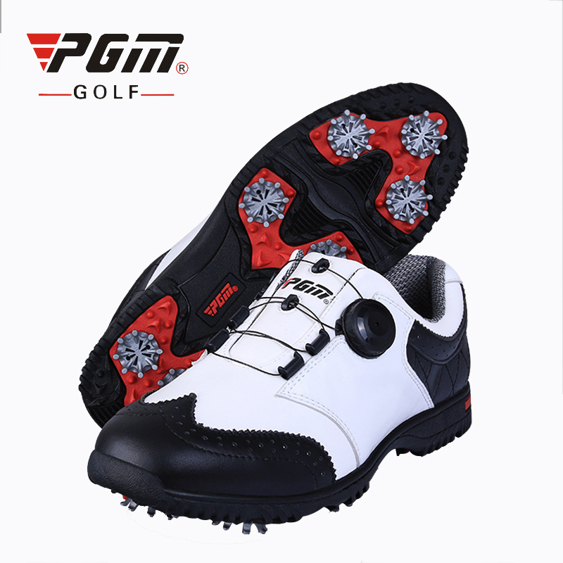 PGM Golf Shoes For Man Genuine Leather Non Slip Sports Sneakers Waterproof Knobs Buckle Golf Shoes Breathable Footwear Plus Size pgm men professional golf shoes male cowhide genuine leather non spikes ultra light super soft waterproof casual golf sneakers