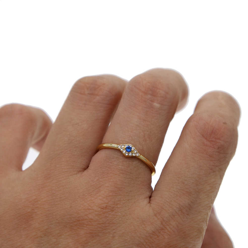 Simple ราคาถูกคุณภาพสูง evil eye แหวนทองสี Midi Pinky แหวน