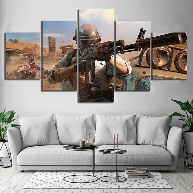 Canvas Picture Modular Frame 5 Pieces Pubg Stimulate The Battlefield Video Game Painting Modular HD Prints Poster Decor Wall Art