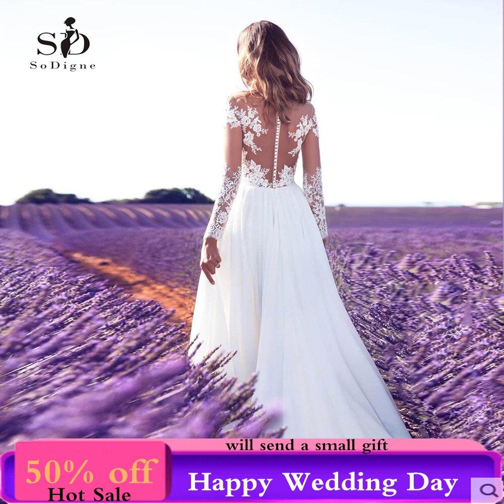 SoDigne manches longues robe de mariée 2018 plage robe de mariée en mousseline de soie dentelle Appliques robes de mariée blanc/Lvory boutons romantiques