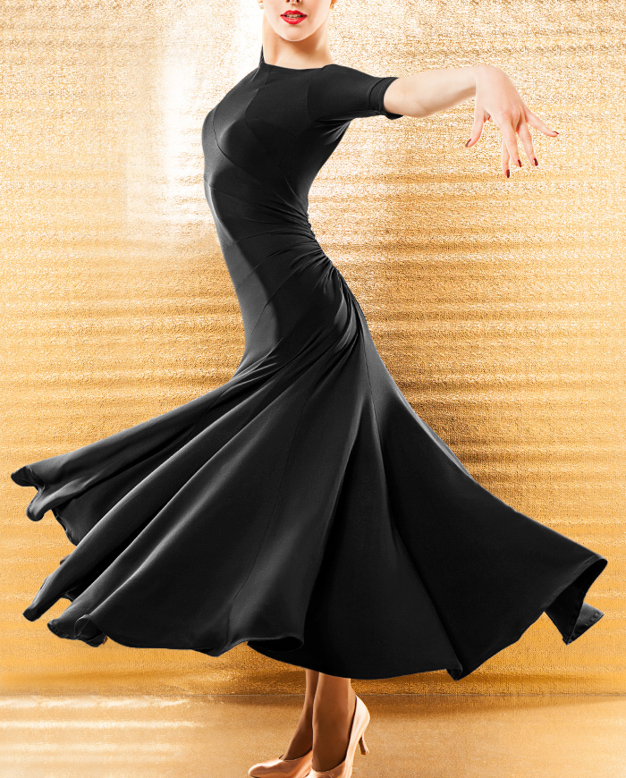 módní společenské šaty valčíkové šaty Moderní taneční poloviční rukáv jednodílné šaty černé