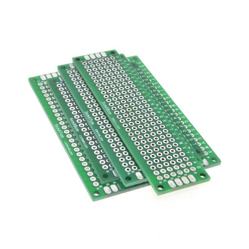 Placa Universal de fibra de vidrio para Arduino, prototipo de cobre de doble cara, placa pcb, 4 Uds., 5x7, 4x6, 3x7, 2x8cm, envío gratis