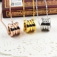 Famous Brand Design Roman Number Screw Spring Pendants Love Necklaces 316l Titanium Steel 18k Rose