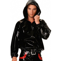 0.6MM Thickness Latex Hood Jacket Latex Rubber Outfits Black Latex Suit