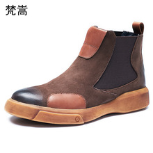 Riding boots male Genuine Leather Chelsea short boots mens British winter thick bottom cowhide military boots men autumn winter high end customized quality kanye west genuine leather chelsea men boots platform mens thick bottom fashion live plus size boots