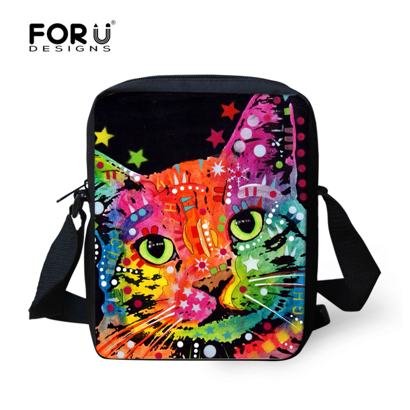 Multi Colored Animal Women Messenger Bag Cute Cat Dog Head Cross-body Bags For Lady Zoo Small Travel Shoulder Bag Mochila Bolsas