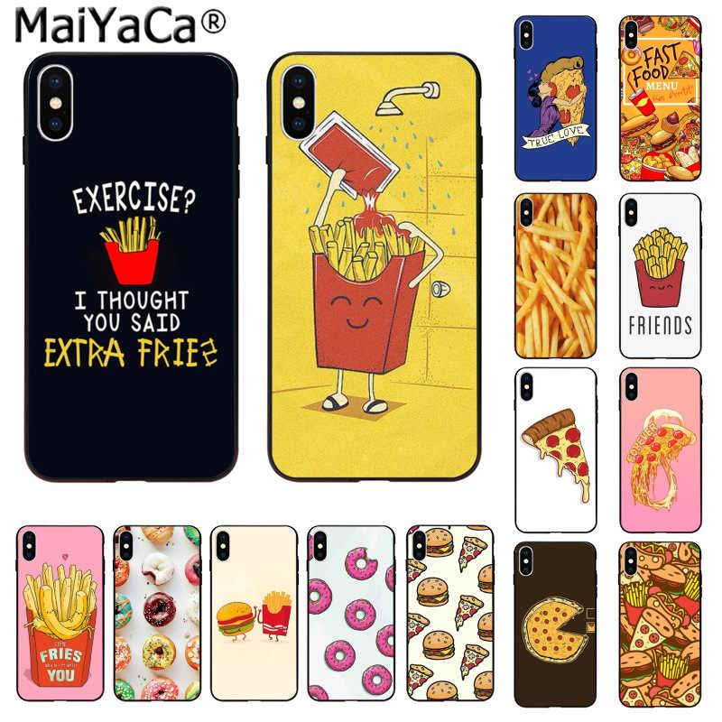 MaiYaCa Pizza French fries Doughnut food Silicone TPU Phone Cover for iphone 11 pro X XS MAX  66S 7 7plus 8 8Plus 5S SE XR