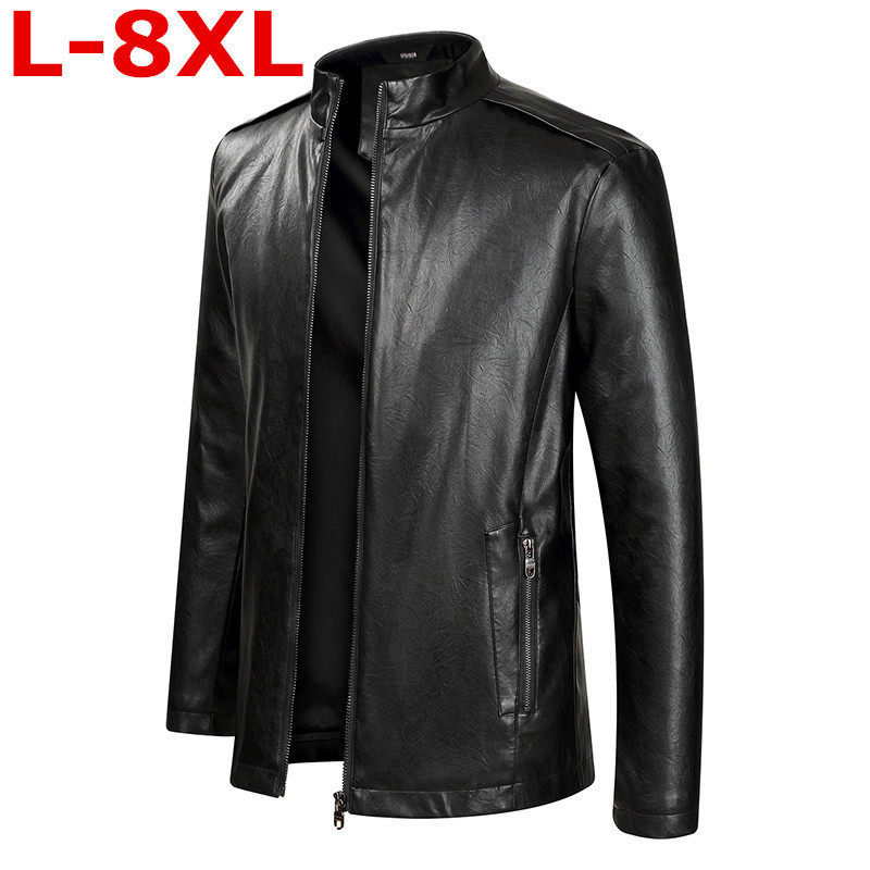 Plus size 8XL 7XL 6XL 5XL 2018 New Arrival Leather Jackets Men Outwear Solid Casual Men's Coats Autumn & Winter Homme PU Jacket men plus size 4xl 5xl 6xl 7xl 8xl 9xl winter pant sport fleece lined softshell warm outdoor climbing snow soft shell pant