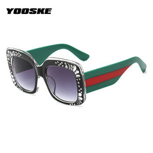 YOOSKE Square Rhinestone Sunglasses Women Luxury brand designer Shades Sun Glasses Ladies Oversized Crystal Frame Eyeglass