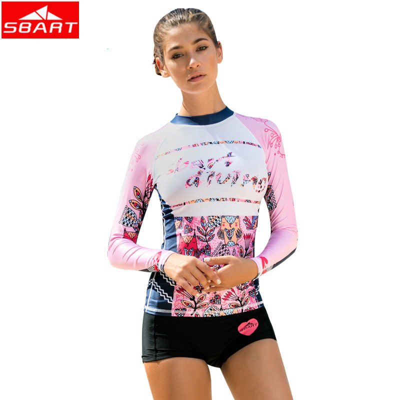 9d8dd2ff4a797 SBART Women Rash Guards Tops Swimwear Swim Long Sleeve Swimsuit Shirts Bathing  Suits Sun Protection Surfing. sku  32848725794