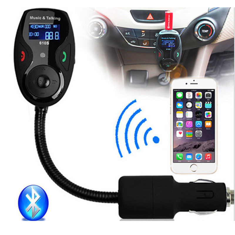 цена на Bluetooth Car Kit Hands Free Phone Call Talking FM Transmitter Cigarette Lighter Plug A2DP MP3 Playback